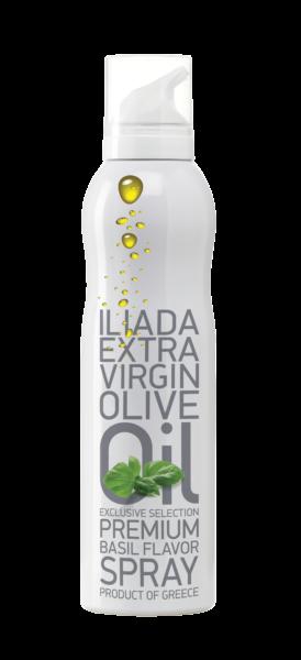 Ekstra jomfru olivenolie på spray med basilikum