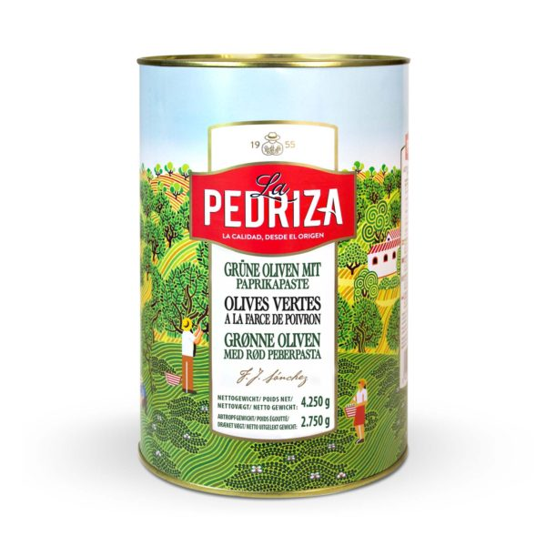 Grønne oliven fyldt med pimiento pasta