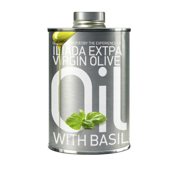 Ekstra jomfru olivenolie med basilikum