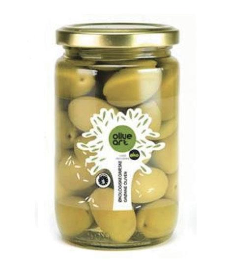 Græske økologiske grønne oliven i glas