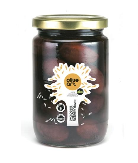 Græske økologiske Kalamata oliven i glas