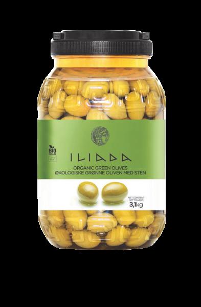 Økologiske grønne oliven m/sten