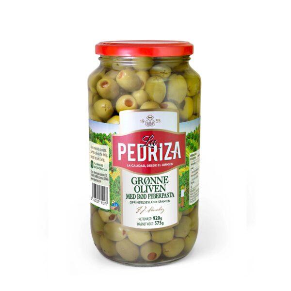 Grønne oliven med peberpasta