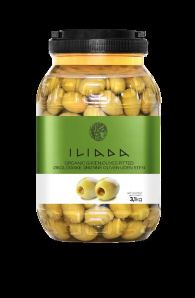 Økologiske grønne oliven u/sten