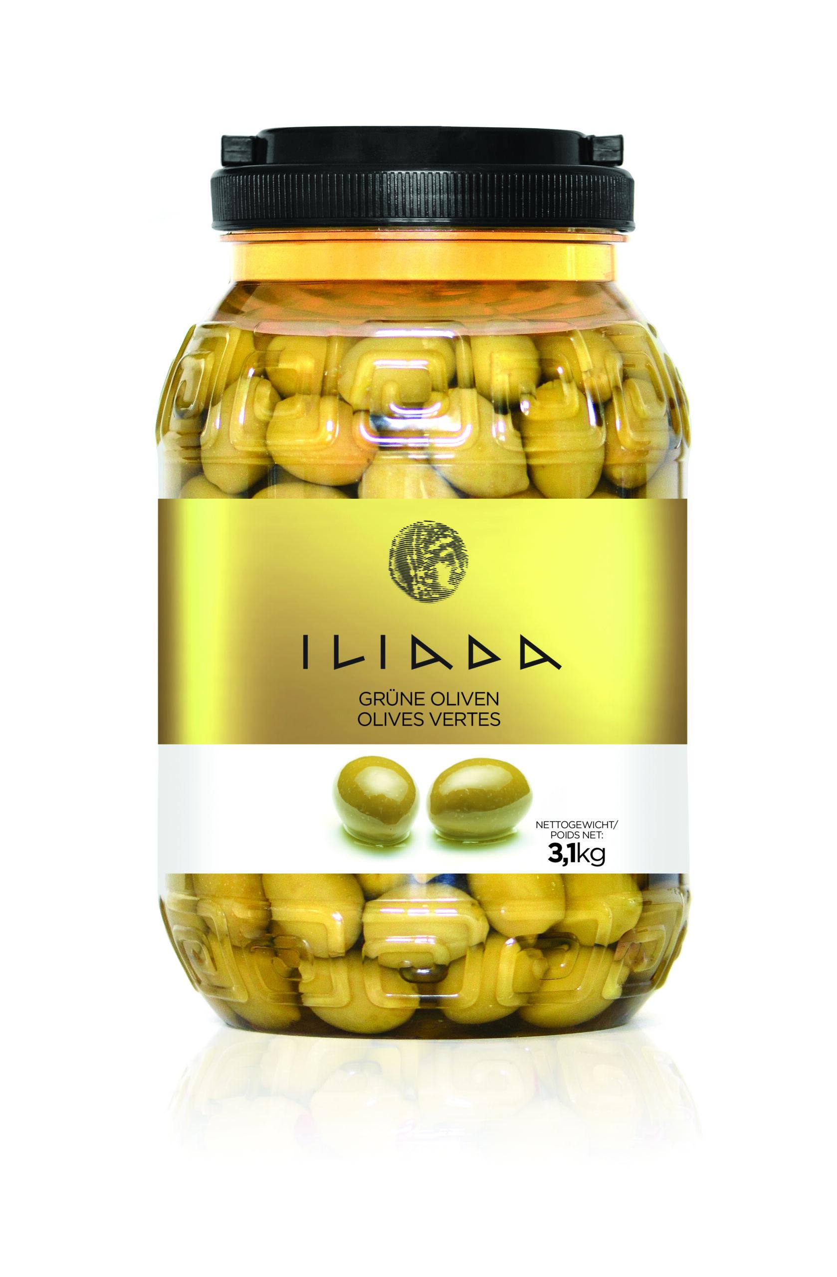 Grønne oliven i solsikkeolie